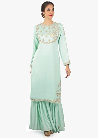 Mint green cotton silk kurti paired with a sharara in cotton silk butti
