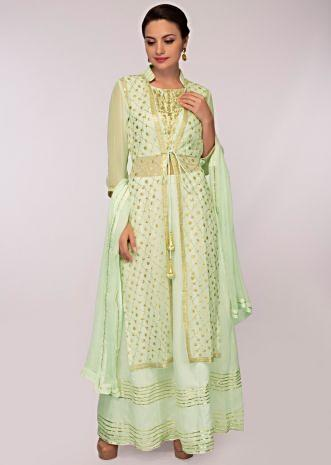 Mint green cotton skirt paired with embroidered long jacket and matching chiffon dupatta