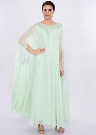 Mint green fancy kaftan dress only on Kalki