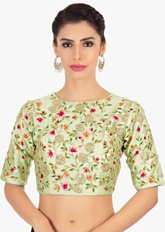 Mint green floral embroidered raw silk blouse