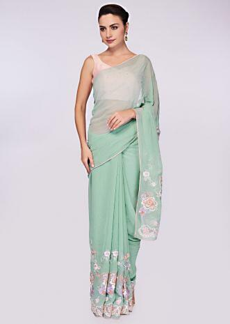 Mint green georgette saree having lower bottom in floral resham embroidery