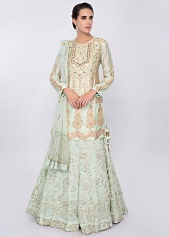 Mint green lucknowi embroidered georgette lehenga only on Kalki