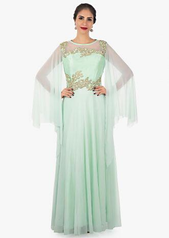 Mint green raw silk and lycra net dress with long slit sleeves