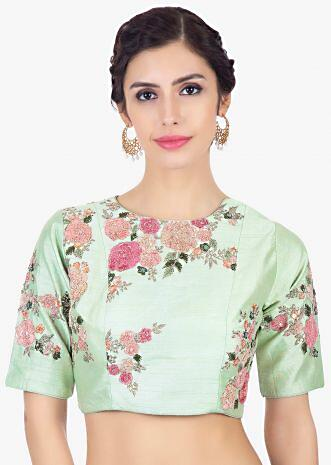 Mint green raw silk blouse in velvet and zari floral embroidery
