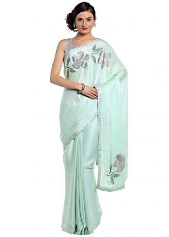 Mint green saree with kundan embroidery in floral motif only on Kalki