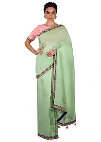 Mint green saree with resham embroidered butti only on Kalki
