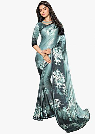 Mint green shaded satin saree in floral print only on Kalki