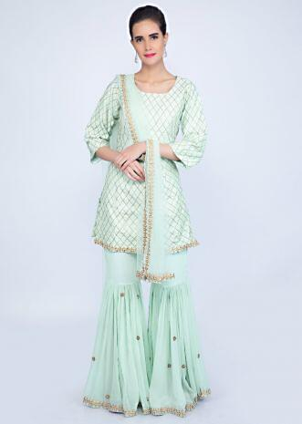 3925134817 Mint green sharara suit set in checks jaal embroidery only on kalki ...