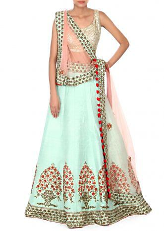 Mint lehenga adorn in resham and sequin embroidered butti only on Kalki
