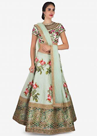 Mint blue lehenga in raw silk with floral print and resham embroidery only on Kalki
