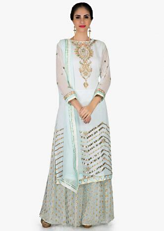 Mint blue palazzo suit in georgette with gotta patch embroidered neckline only on Kalki