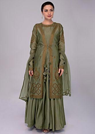 Moss green anarkali dress with embroidered jacket and net dupatta only on Kalki