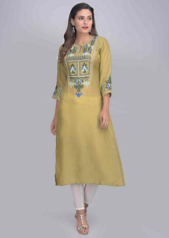 af02c6dc9 Moss green cotton kurta with gotta patches work only on Kalki