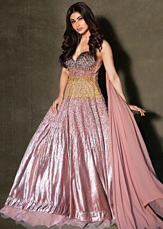 Mouni Roy in Kalki dusty rose pink strap gown in shimmer sequins embroidery  ... 50ef932af