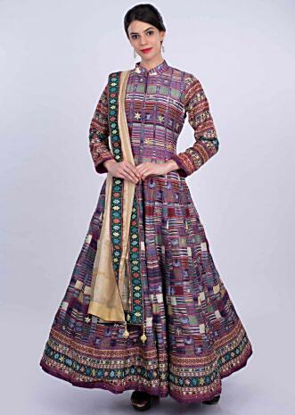 Multi color cotton silk anarkali dress in tribal and geometric print only on Kalki