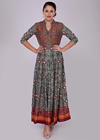Multi color cotton tunic dress with ikkat print