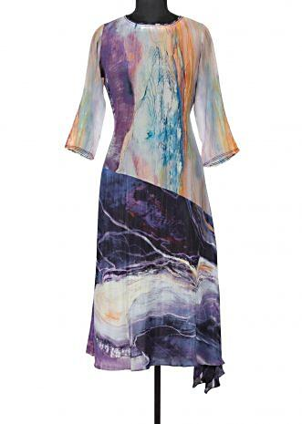 Multi color kurti in abstract print only on Kalki