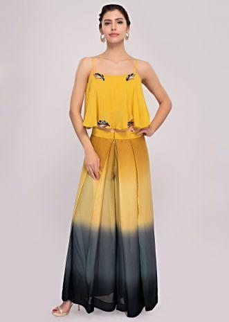 Multi color shaded pleated palazzo paired with a embroiderd strap crop only on Kalki