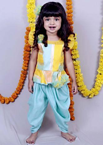 Multi color top with frill sleeves and aqua blue dhoti