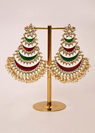 Multi layer traditional chandbali earring  with kundan and moti