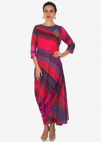 Multi color kurti in pink and blue shade with zardosi butti and cowl drape only on Kalki
