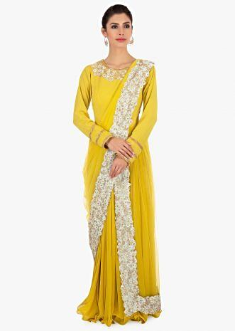 Mustard anarkali dress in gathers and over lapping layers