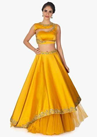 Mustard cut out crop top with satin skirt having under layer in net