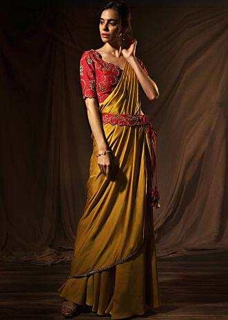 Mustard milano satin saree with ready pleats and stitched pallo only on Kalki