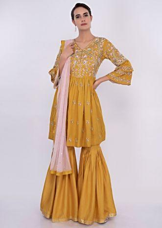 Mustard raw silk sharara suit set only on Kalki
