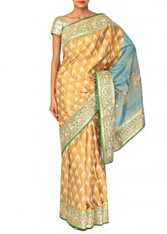 Mustard saree featuring in weaved butti and gotta border only on Kalki