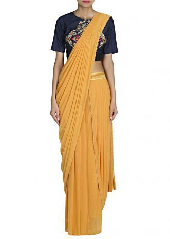 Mustard saree gown with pre stitched pallav only on Kalki