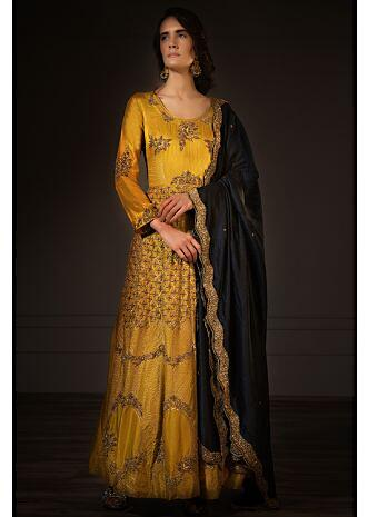 Mustard silk heavy embroidered anarkali dress with prussian blue dupatta  only on Kalki
