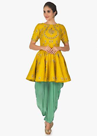 Mustard thigh length top with turquoise blue dhoti pant