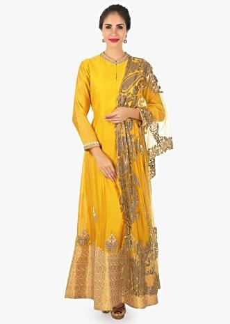 Mustard yellow chanderi silk anarkali in brocade hemline