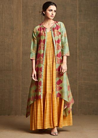 Mustard yellow dress in gathers with long printed jacket