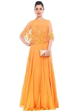 Mustard Yellow Gown With Embroidered Cape