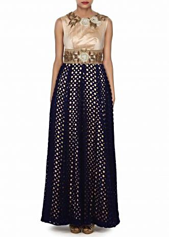 Navy blue and beige gown adorn in french knot embroidery only on Kalki
