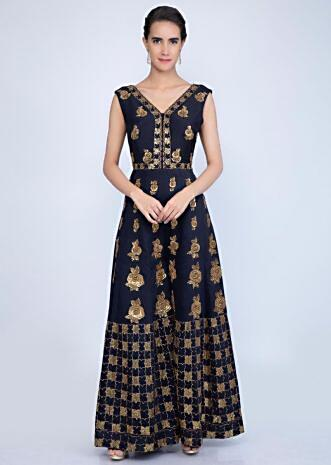 a5c51a69aae Navy blue cotton silk jumpsuit with heavy embroidery and butti only on  Kalki ... Embroidered Net Abaya Style Suit in Baby Pink