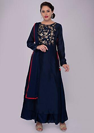 Navy blue cotton silk suit with floral embroidered top layer