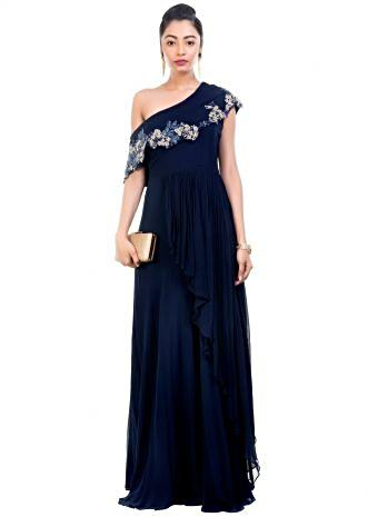 Navy Blue Drop Shoulder Gown