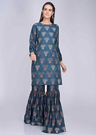 f14ab51251 Navy blue embroidered cotton silk printed sharara and kurti set only on  Kalki