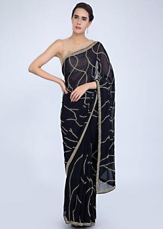 dfba196ba47 Navy blue georgette saree with heavy cut dana jaal embroidery only on Kalki  ...