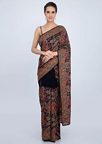 Navy blue georgette saree with multi color embroidered pallo and lower bottom only on Kalki