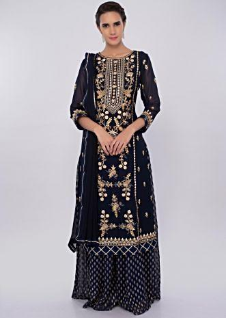 Navy blue georgette sharara suit set with embroidery and butti only on kalki