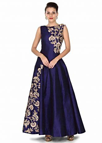 Tridha Choudhury in kalki navy blue gown adorn in zari and sequin in floral