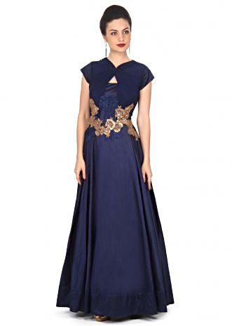 Navy blue gown enhanced in sequin and resham embroidery only on Kalki