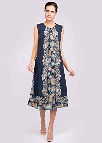 21251747a Navy blue multi color foil printed kurti with matching long jacket only on  Kalki ...