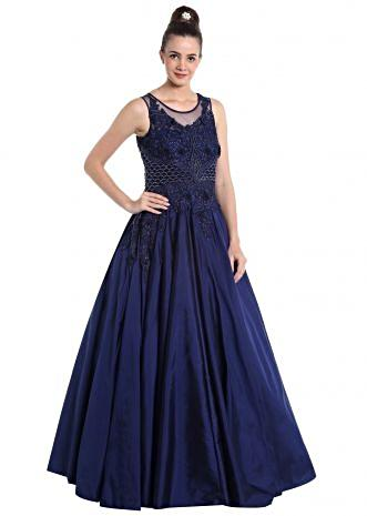 Navy blue net and dupion silk gown with 3D flower, resham and stones only on Kalki