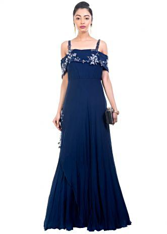 Navy Blue Off Shoulder Gown