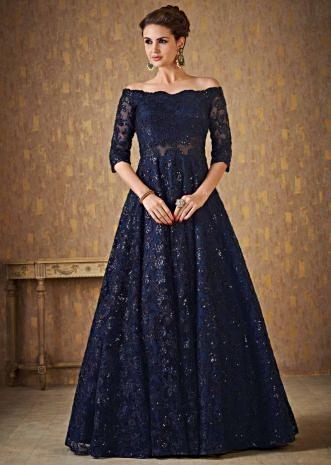 191b093264 Navy blue off shoulder gown adorn in embossed thread and sequin embroidery  ...